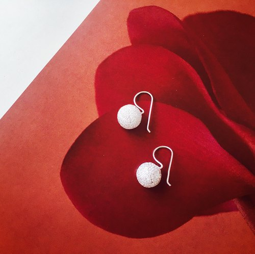 925 sterling silver [Shiny silver ball design ear hook earrings]