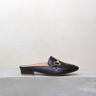 Classic black muller handmade shoes