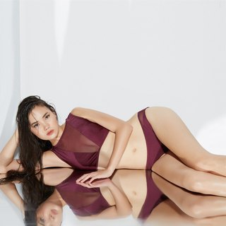 'Zoe' V Mesh Two Piece Swimwear - Merlot Color (CREX65)