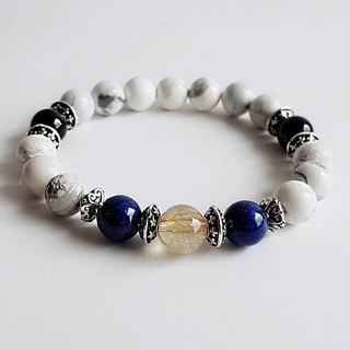 Natural ore white turquoise titanium crystal agate lapis lazuli 925 sterling sil