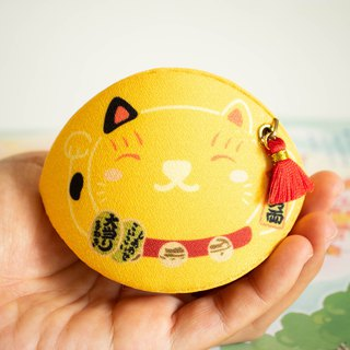 Yellow Beckoning cat coin purse. Bring Good health and good marriages to owner.