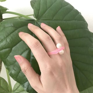 Acrylic grain ring - square / pink