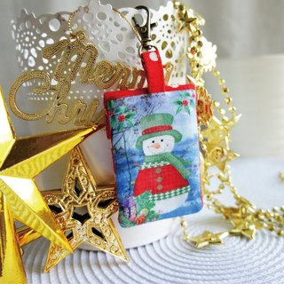 Lovely [Japanese cloth] Christmas snowman square peace bag, poetry sign lucky bag, small jewelry bag