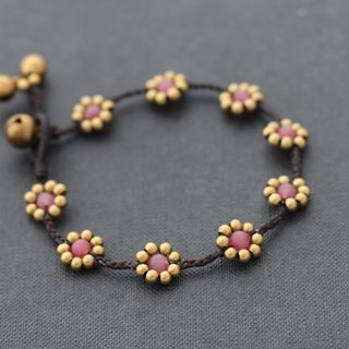 Rose Quartz Flower Bracelets Brass Braided Woven Daisy Cute Love Stone