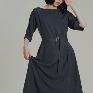 Shan Yong Carbon Lightweight Cotton Pleated Dress