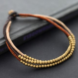 Brass Woven Beaded Anklets Brass Beads Earth Tone Boho Yoga Ankle Bracelets