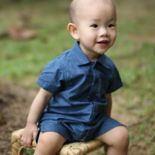 Japanese style baby boy blue romper