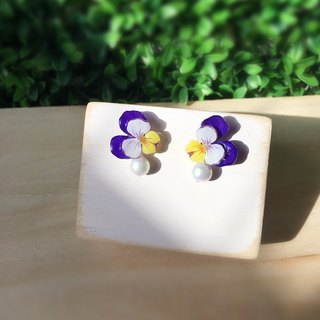 *Haku‧Neko*Hand painted pansy classic purple white yellow cotton earrings earrings