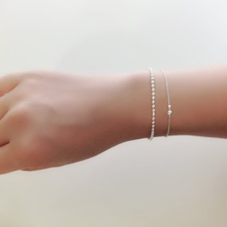 Sterling silver double bead chain bracelet