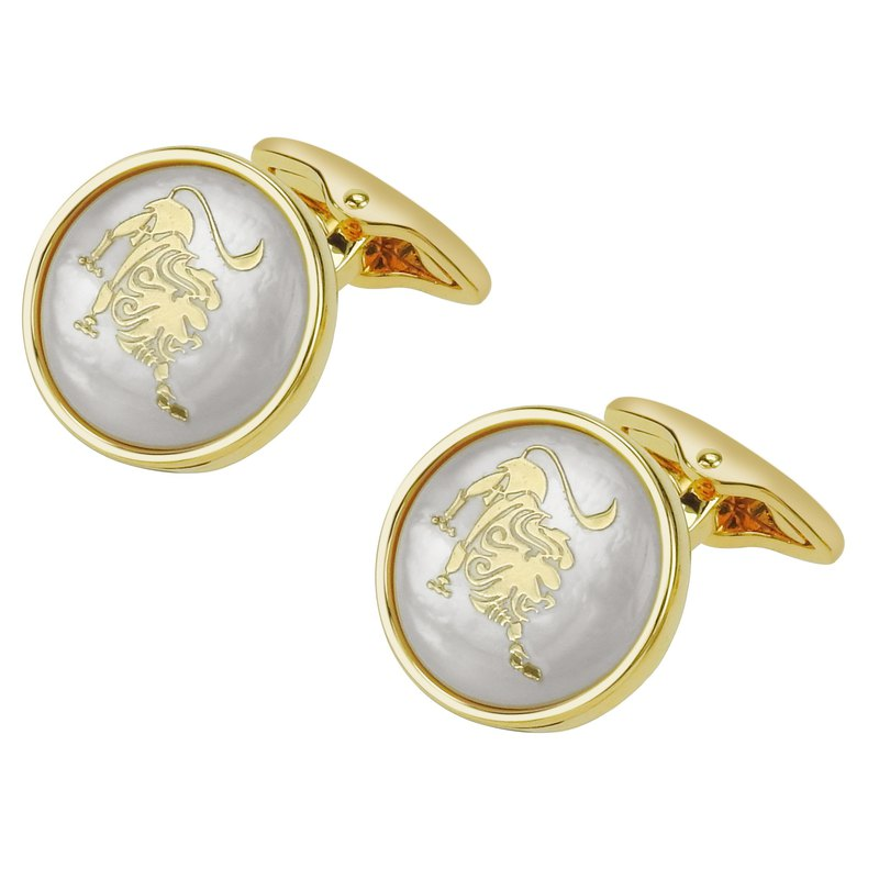 White Mother of Pearl Leo Gold Cufflinks