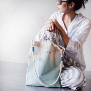 Autumn wave blue gradient - hand dyed tote bag (with round rope strap)
