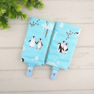 Penguin family. Double-faced cotton cloth sling saliva towel + windproof clip (2 / group)