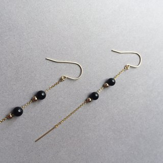 voyage / black agate long earrings