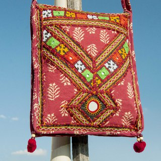 Hand-embroidered cross-body bag ethnic wind bag side backpack shoulder bag handmade bag embroidery bag - desert flowers