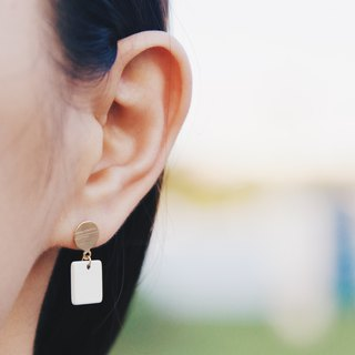 Matte Square Piece - White Draped Earrings Earrings [Changeable Ear Clips]