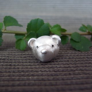 Teddy Bear No.40 Stud Earring--Sterling Silver--Silver Tiny Bear --Cute Bear