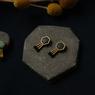 Hexagonal brass earrings