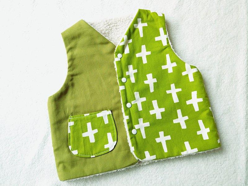 小孩背心 - 小十字羊羔絨背心 (十十綠) M