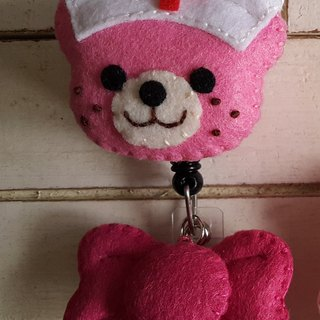 """Mini bear hand made"" small nurse retractable pull ring"