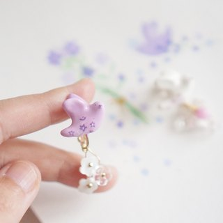 [Unicorn Forest] Floral Wings Simple Platycodon Flower Purple Single Ear Stud / Ear Clip