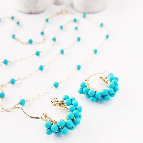 Goody Bag - K14gf turquoise * pierce & necklace set / earring Variable ear enclosure