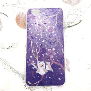 [Whisper under owl cherry tree] illustration air pressure mobile phone shell