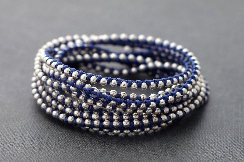 藍色銀色串珠纏繞手鍊編織串珠