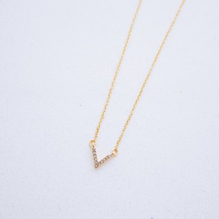Commemorative - v-shaped zircon embellishment chain clavicle