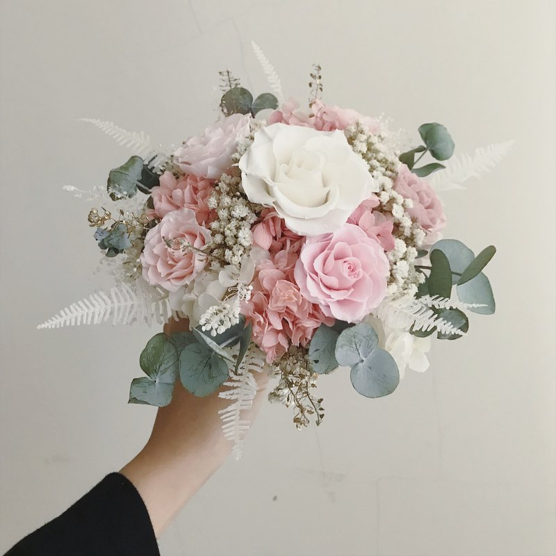 Spring god tender pink eternal flower rose does not withered flowers hydrangea bouquet bouquet overseas wedding wedding arrangement