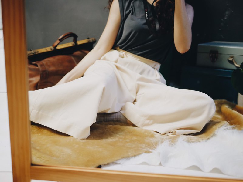Beige zipper side buckle elegant classic girl antique spinning wide trousers wide pants pants vintage