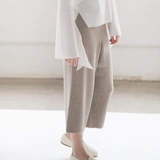 KOOW Dance Me Spring and Autumn thin section texture wool wide leg pants thread knit