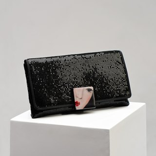 CoinQian black pearl retro sequined clutch