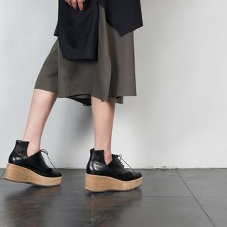 ZOODY / Canyon thick bottom / handmade shoes / beveled platform shoes / black