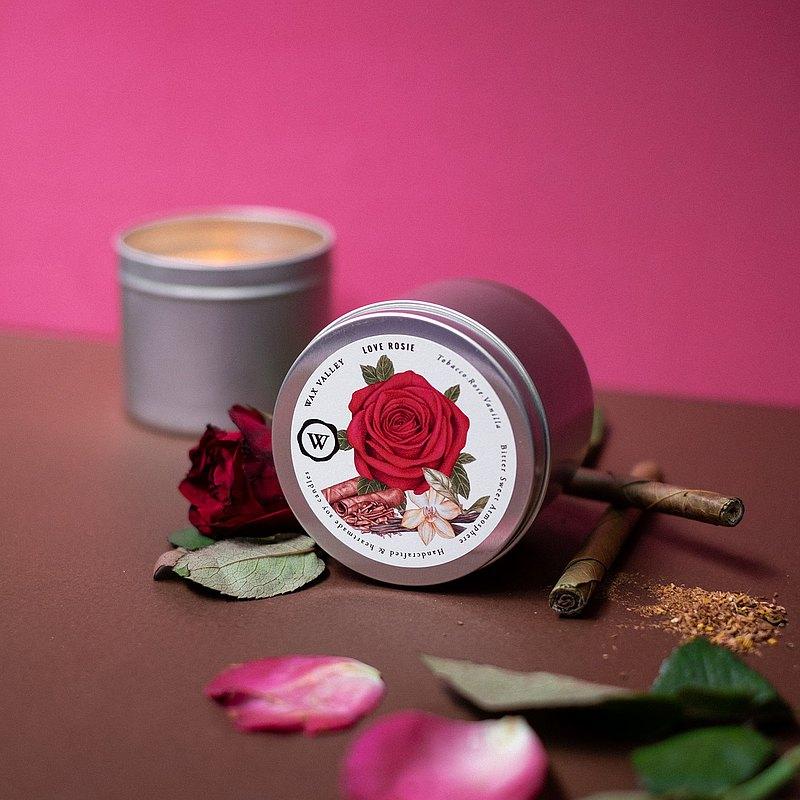 大豆蠟燭愛羅茜混合便攜式錫-煙草,玫瑰和香草