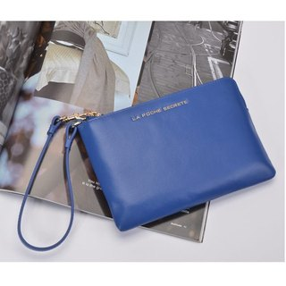 【FUGUE Origin】Ocean blue lightweight leather clutch bag