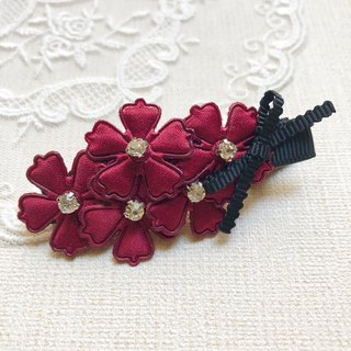 Fresh flower bangs hairpin / wine red