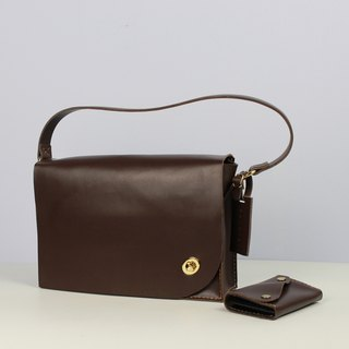 Zemoneni Brown color leather lady shoulder bag with metal turn lock