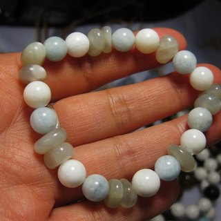 muso: silver Moonstone + 8mm Aquamarine + clam, sky and sea taste and 100% natural -