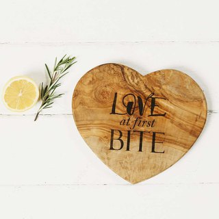 British Naturally Med olive wood into a love shape with text chopping board / board / display board