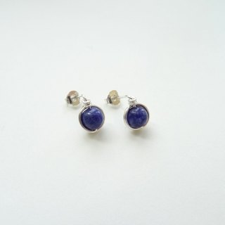 Ear Studs - Deep Blue Sodalite Beads Sterling Silver Wire Wrapped Stud Earrings