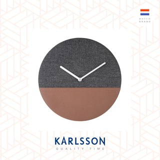 荷蘭Karlsson wall clock leather jeans grey 牛仔布皮革掛鐘