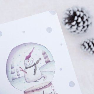 Let it snow Christmas crystal ball Christmas card / postcard with envelope