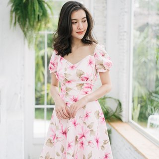 Vintage Dress Pink Floral Dress Sundress Puff Sleeve Formal Casual Dress Summer