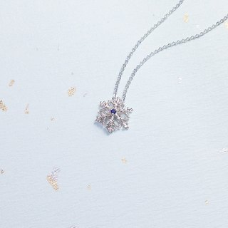 Natural sapphire snowflake necklace hand made silver silver925 snowflake snow crystal