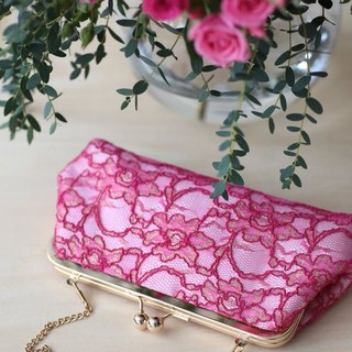 Handmade Clutch Bag in Pink & Red | Gift for mom, bridal | Fuchsia Peony Lace