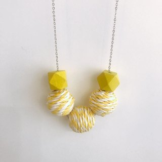 Yellow Wooden Ball Necklace Birthday Gift Bridesmaid Gift