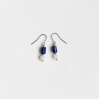 Second button natural lapis lazuli earrings