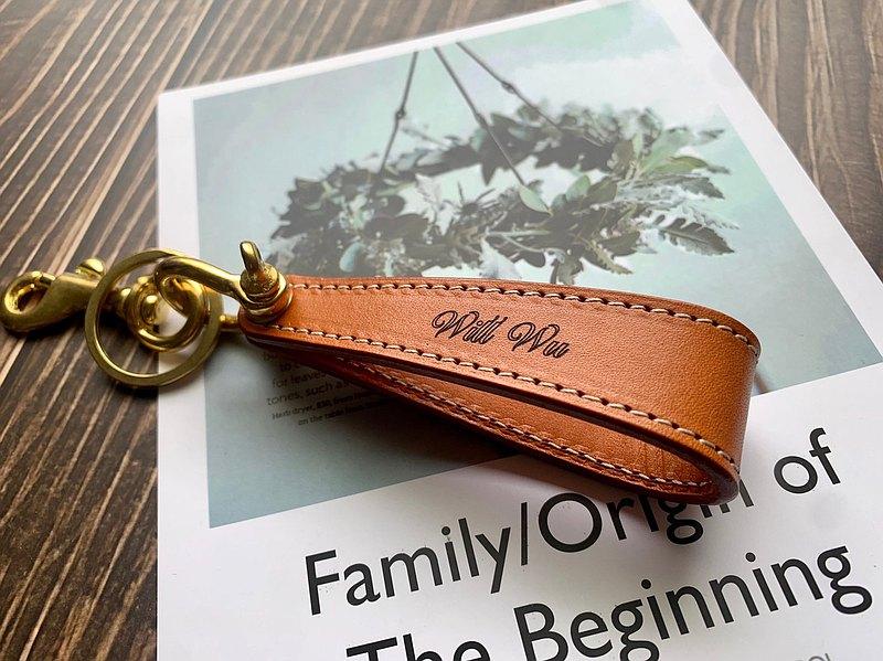皮革鑰匙圈 純黃銅雙層款【免費雷雕】情人節 生日禮物 伴郎禮物