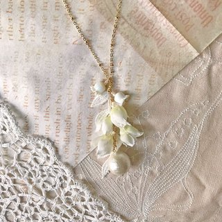 Jt Corner Lily of the Valley Glass Bead and Lace Necklace