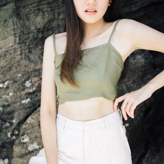 green mini island crop top